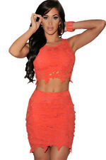 Fashion Graceful Sexy Two piece Lace Skirt Sets Orange Large