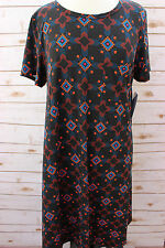 Brand New LuLaRoe Carly Dress Beautiful Black base Aztec pattern L - Large