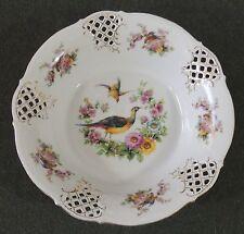 Schumann Dresden Germany Cutwork Pierced Reticulated Serving Bowl Pheasant Bird
