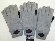 DICKIES 3 Pairs of Knit Gloves w/Suede Fleece Lined Grey/Blk  One Size Fits Most