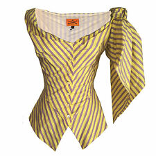VIVIENNE WESTWOOD ANGLOMANIA STRIPED STRETCH SUNDAY TOP WITH SCARF Size 42