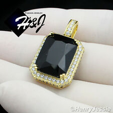 925 STERLING SILVER LAB DIAMOND ICED BLING HIP HOP BLACK ONYX GOLD PENDANT*SP101