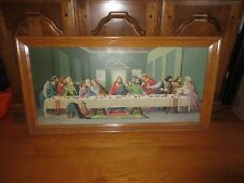 """Oak Framed THE LAST SUPPER Oil Paint-By-Number Painting - 18"""" x 35"""""""