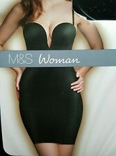 "NEW M&S SECRET SLIMMING ""EXTREME V"" PUSH UP SHAPING SLIP SIZE 38A - BLACK"
