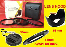 RING ADAPTER+ FILTER KIT+HOOD+LENS CAP 58mm for CAMERA FUJI FINEPIX S8600 58 mm