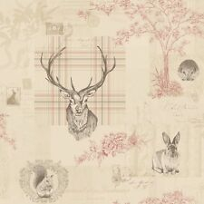 Cranberry Red / Linen - 98010 Nature Check Tartan Stag Trees K2 Holden Wallpaper