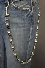 Silver Metal Long Wallet Chains KeyChain Strong Thick Skull Skeleton Biker Jeans