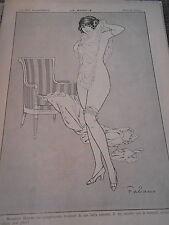 Le Modèle Girl Nude Jolie femme nue dessin Fabiano Print Art Déco 1912