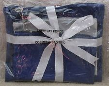 Cosmetic Bag Trio - Navy & Silver - Brand New sealed..