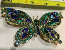 Vint Large Butterfly Gorgeous Rhinestone Emerald Green Royal Blue Pin Brooch*