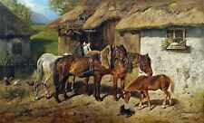 PAINTING EXTERIOR STUDY BIEDERMANN-ARENDTS HARNESSED HORSES LARGE PRINT LF947