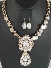 Gold and Clear Floral Crystal FASHION Statement Necklace Set