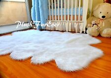 New Snow White Sheepskin 4' x 6' Faux Fur Area Rug Flokati Nursery Baby