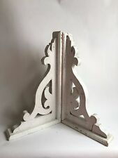 "Antique Pair(2) Wood Corbels Brackets Gingerbread Victorian White 11"" x 20"" A1"