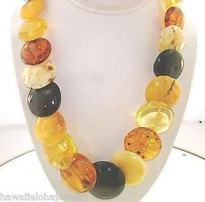 """Calibrated Graduated Chunky Genuine Baltic Sea Mixed Amber Disc Necklace 21"""" #3"""