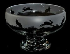 *HARE GIFT*  Boxed GLASS FOOTED BOWL with HARE Frieze design *ANIMAL GIFT*