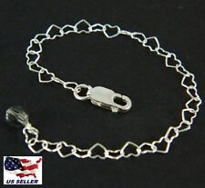 "4"" Sterling Silver Necklace Extender Chain & Clasp w/ Swarovski Black Diamond"