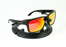 OAKLEY HOLBROOK MATTE BLACK GUNMETAL FRAME W/ REVANT FIRE RED POLARIZED LENSES