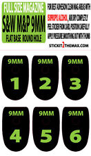 S&W M&P 9MM LIME NUMBER SET 1-6 MAGAZINE BASE PLATE STICKERS