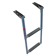 "2 Step Stainless Steel Telescoping Marine Boat Ladder Upper Platform 10"" Width"
