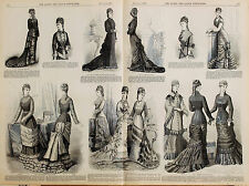 Victorian Fashion: evening dresses, costume style 1878 Queen Magazine, Women