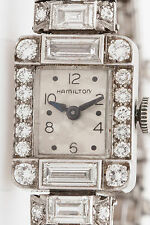 Antique 1930s $20,000 6ct VS G Diamond BULLET Hamilton Platinum Ladies WATCH