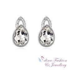 18K White Gold Plated Genuine Swarovski Crystal White Teardrop Stud Earrings