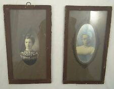 "LOT OF 2 PRE-1900 PHOTOGRAPHS ~ WOMEN'S PORTRAITS IN SIMPLE GLASS FRAME 7"" x 4"""