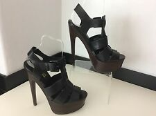 TOPSHOP Black Leather Strap Heels Shoes Size 40 Uk Peep Toe Vgc Women's Ladies