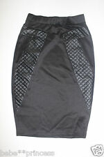 NWT bebe black quilt mixed fabric midi sexy dress skirt party XS 0 2 stretchy