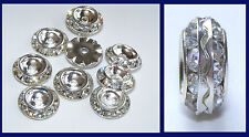 10 Silvertone Spacer Beads with Crystal Rhinestones 13mm (SP018)