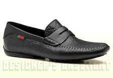 GUCCI mens 11G Black GUCCISSIMA leather Web SAN MARINO Drivers shoes NIB Authent