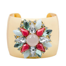 Bracciale Bangle Bracciale Statement oro cristallo grosso fiore Boutique   50% di sconto