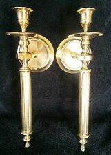 VINTAGE SET SOLID BRASS TAPER CANDLE WALL SCONCES