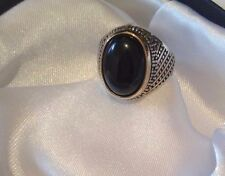 SOLID 925 STERLING SILVER MENS JEWELRY & BLACK AGATE - AQEEQ MENS RING