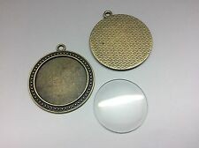Antique Bronze Pendant Tray DIY Kit, 5 x Settings + 30mm Glass Cabochons