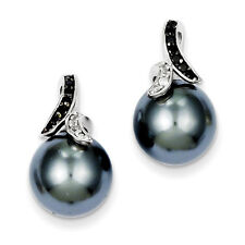 925 Sterling Silver Post Black And Clear CZ Gray Shell Pearl Earrings