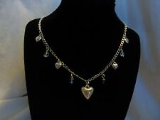 Vintage Simple Style Silver LOVE Heart Valentine Gift Necklace Assembled Beads