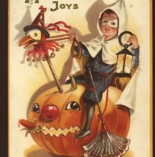 "SCARCE.! MASKED BOY RIDES FANTASY PUMPKIN HORSE,""WICKED CREATURES FLEE"" POSTCARD"