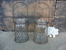 Small Glass Jar with Rust Chicken Wire Hanger  Mason Jar Tea Light Candle Holder