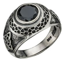 Elements 1/4oz 925 Silver Heavy Oxidised Pagan Triquetra Black CZ College Ring
