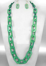 "CHUNKY LUCITE GRASS GREEN FLAT CHAIN LINK LONG NECKLACE SET 36"" PLASTIC ACRYLIC"