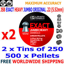 JSB EXACT HEAVY JUMBO ORIGINAL .22 5.52mm Airgun Pellets 2(tins)x250pcs