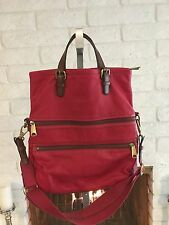 EUC FOSSIL EXPLORER Leather XL Red  Fold-Over/ Crossbody  Tote Bag