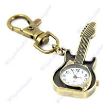 Unique Retro Bronze Guitar Design Quartz Pocket Watch Pendant Key Keyring