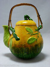 VINTAGE PEAR SHAPED TEAPOT w/BAMBOO HANDLE - c. 1950's