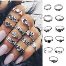 11Pcs/Set New Womens Vintage Silver Arrow Moon Midi Finger Knuckle Rings Jewelry
