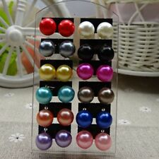 Hot Women's 12Pair/pack 2-12mm Ear Stud Faux Pearl Round Ball Earrings Set color