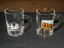2 X MINIATURE TANKARDS THAMES BARRIER / EDINBURGH CASTLE SCENE  MADE IN FRANCE