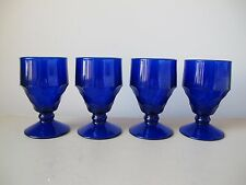 Viking Glass Georgian Cobalt Blue Low Water Goblets, Set of (4) Honeycomb Design